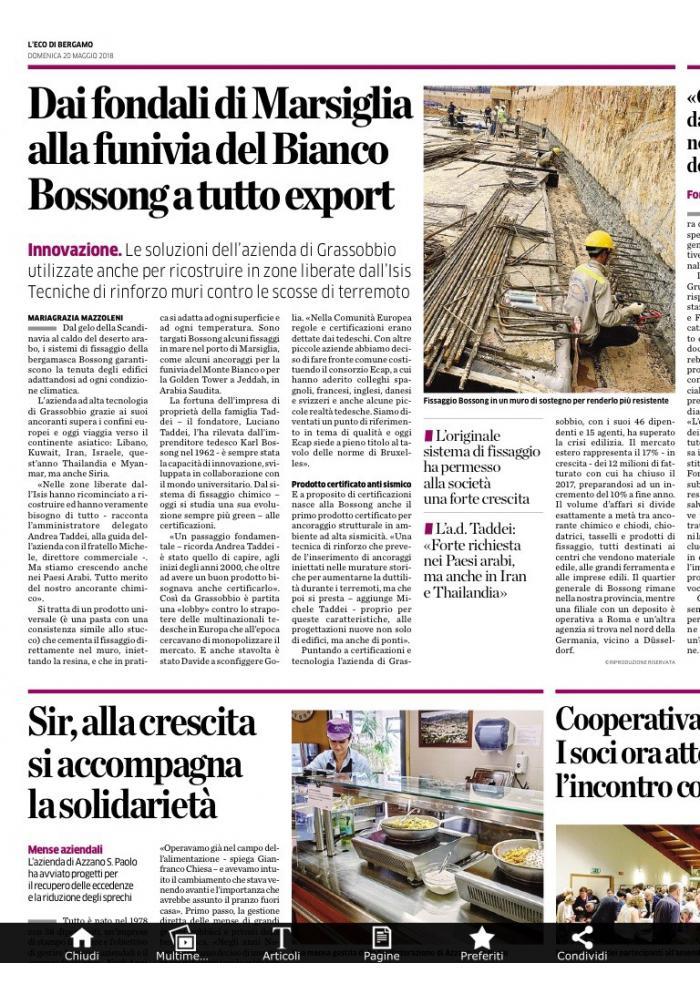 Bossong Eco di Bergamo 2018